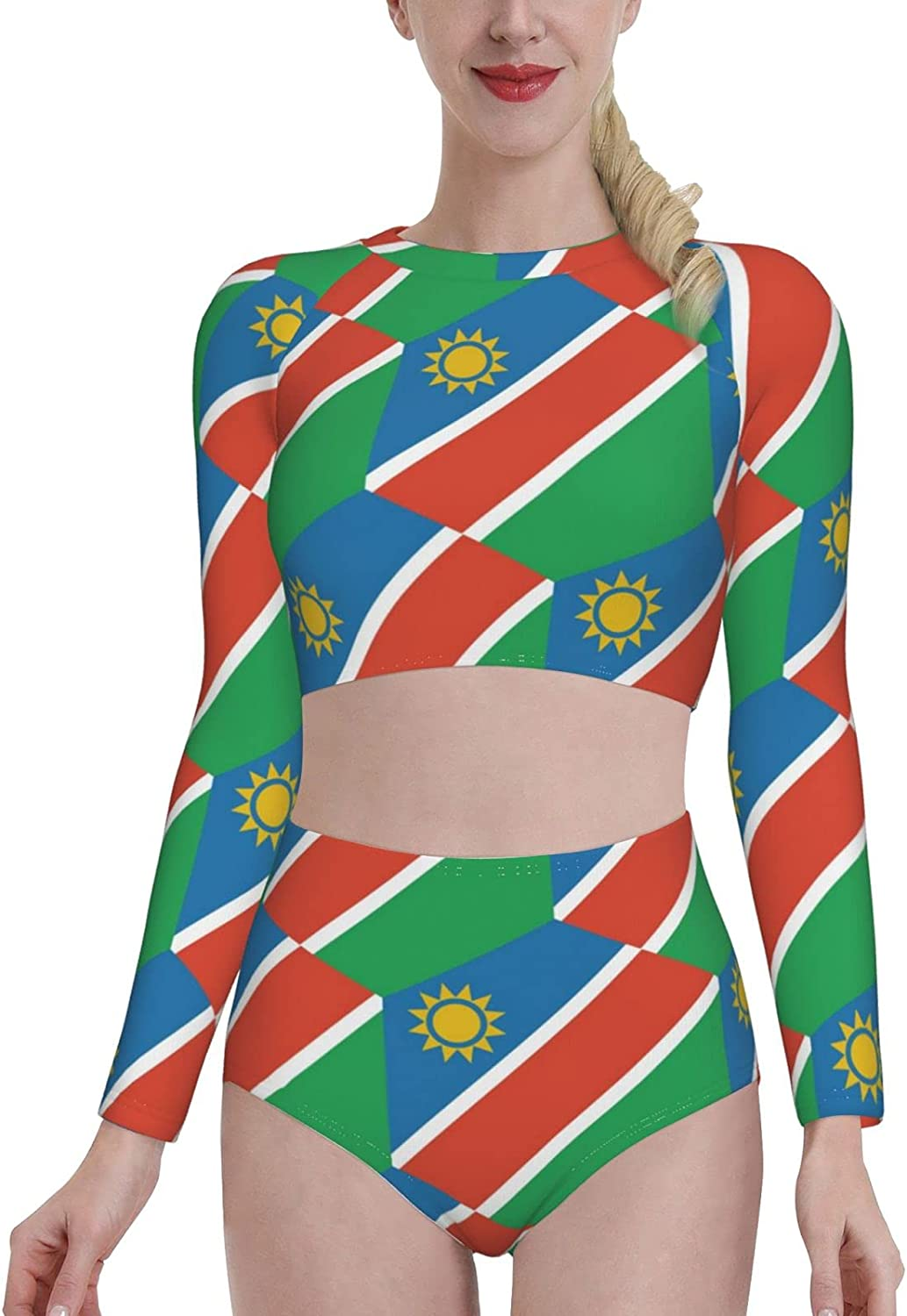 Retail Sign Systems Namibia Flag Womens Two Piece Swimsuit Long Sleeve Rash Guard Swimwear