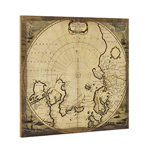 art.work - Cuadro de lienzo (60 x 60 cm), diseño de mapa del norte de Polo