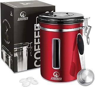 JENNIMER Kaffebehållare lufttät rostfritt stål stor med genomskinlig fönsterbehållare fräschare bönor och markar för längr...