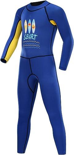GYFY Maillot de Bain Solaire pour Enfants, Combinaison de plongée avec Tuba à Manches Longues, Combinaison en Une Seule pièce du Grand Costume de plongée pour Enfants,bleu,XXXL