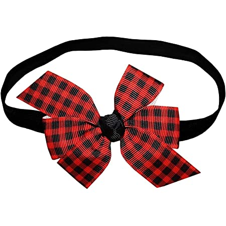 Plaid Hair Bow Girls 4 inch Red and Black Plaid Hair Bow Handmade Hair Bow Toddler and Baby Red /& Black Plaid Hair Bow