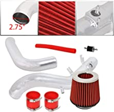 For 2007-2010 Scion TC (2.4 Liter Engine ONLY) 2.75 Inch Aluminum High Flow Cold Air Intake System Polish Pipe with Air Filter Red