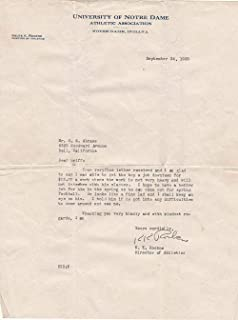 Knute Rockne Notre Dame Signed Letter 9/24/29 w Envelope 10 LOA AH41180 - PSA/DNA Certified - College Cut Signatures