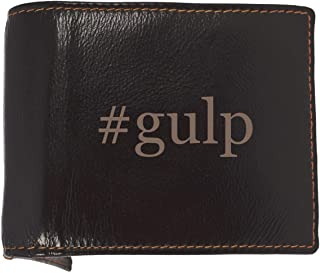 #gulp - Soft Hashtag Cowhide Genuine Engraved Bifold Leather Wallet