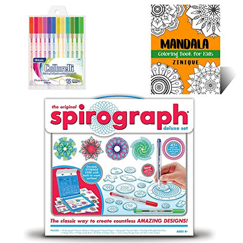 Spirograph Set Deluxe Kit for Kids – Includes Spirograph Deluxe Design Set, Multicolored Gel Pens, And Mandala Coloring Book for Kids – Ideal Creativity Art Set for Promoting Development in Kids