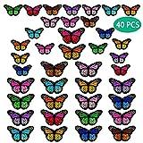 40 parches de mariposa para planchar, 2 tamaños bordados, parche de reparación para coser