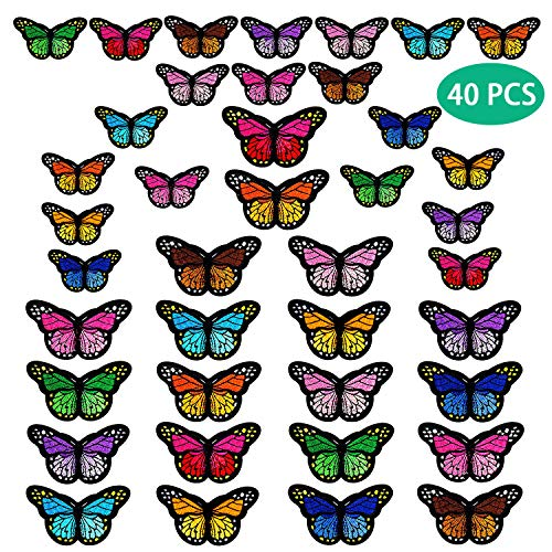 40pcs Butterfly Iron on Patches, 2 Size Embroidered Sew Applique Repair Patch