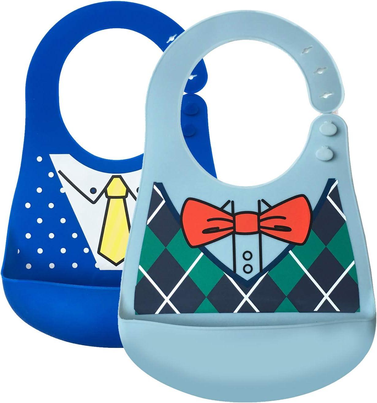 N/œud papillon//Costume de mode Bavoirs Bavoir /étanche en silicone Bavoirs doux et confortables pour prot/éger des taches Passez moins de temps /à nettoyer apr/ès les repas
