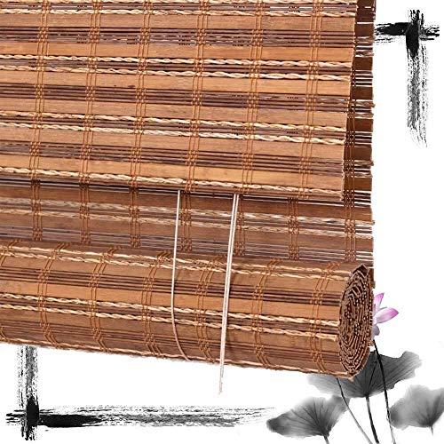 Bamboe Rolgordijn Rolgordijn Bamboe Vouwgordijnen Jaloezieën Houten Rolgordijnen - Gordijn Zon Filtering Naar Veranda Balkon Ramen Deuren Multi-Maat Aanpasbaar (Grootte: 100x200CM)