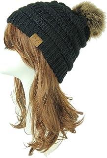7717da68dca02 Women Winter Warm hat Beanie CC with Cute Faux Fur Pom Pom Ball Knitted Cap  Skully