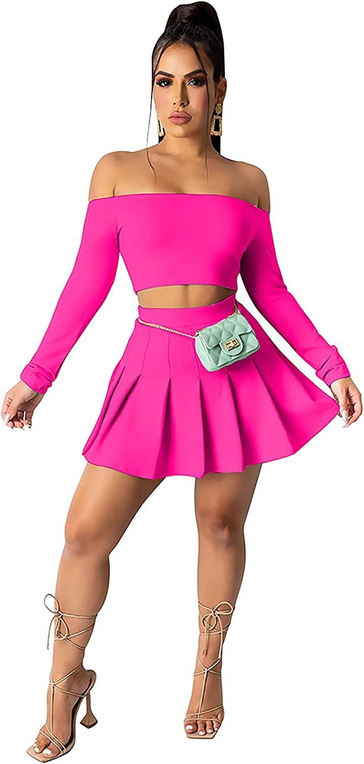 Skirt Sets Women 2 Piece Outfits - Halter Top Sale SALE% OFF Sexy Raleigh Mall T Neck V Crop