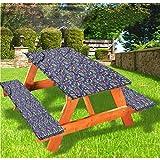 LEWIS FRANKLIN - Mantel ajustable con fundas de banco, diseño de dibujos animados, con bordes elásticos, 28 x 72 pulgadas, juego de 3 piezas para camping, comedor, exterior, parque, patio