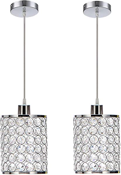 MonDaufie 2 Pack Modern Crystal Pendant Lights Chrome Finish Hanging Pendant Lighting Adjustable Pendant Lights For Kitchen Island Bar Bedroom Bathroom
