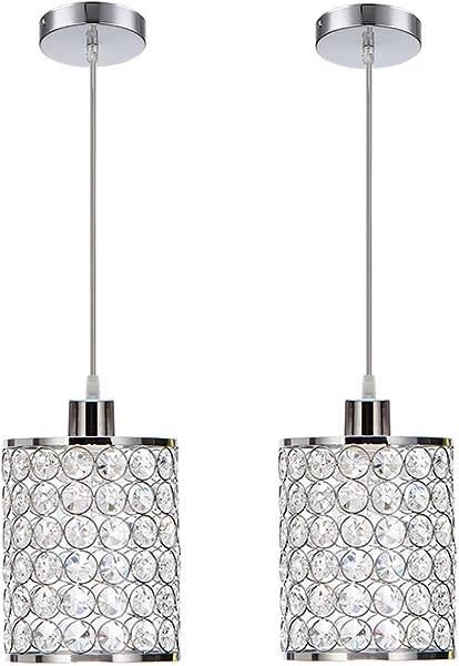 MonDaufie 2 Pack Modern Crystal Pendant Lights Chrome Finish Hanging Pendant Lighting Adjustable Pendant Lights For Kitchen Island Bar Bedroom Bathroom