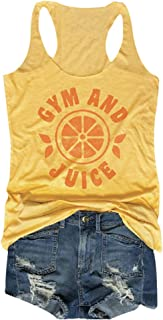 MK Shop Limited Women Gym and Juice Tank Top Funny Words Sleeveless Cami Shirt
