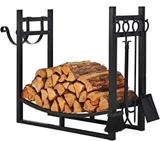 Patio Watcher 3-Foot Firewood Rack Wood Storage Log Holder with Kindling Holder and 4 Tools Indoor Outdoor Fireplace Heavy...
