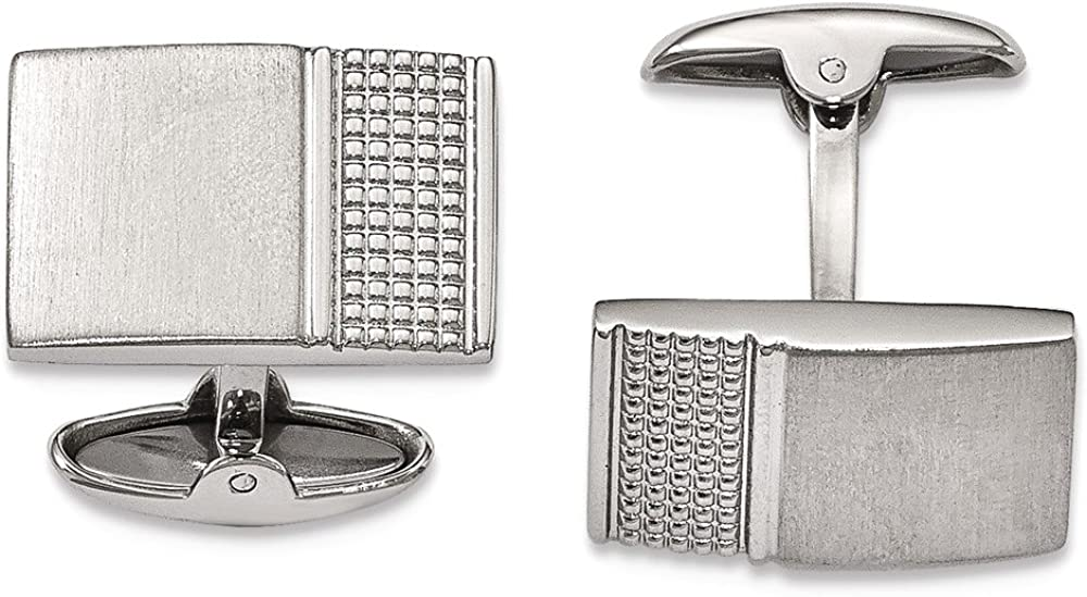 Chisel Stainless Steel Brushed/Polished Textured Cuff Links