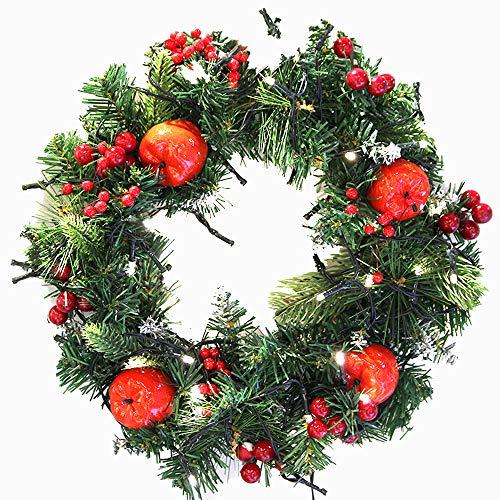 Covok kersenkrans, rotankrans, slinger van rotan, motief kersenslinger, kunstkersen, ornamenten voor kerstbomen zonder lampjes 30 cm, slinger van poort 30cm Groen