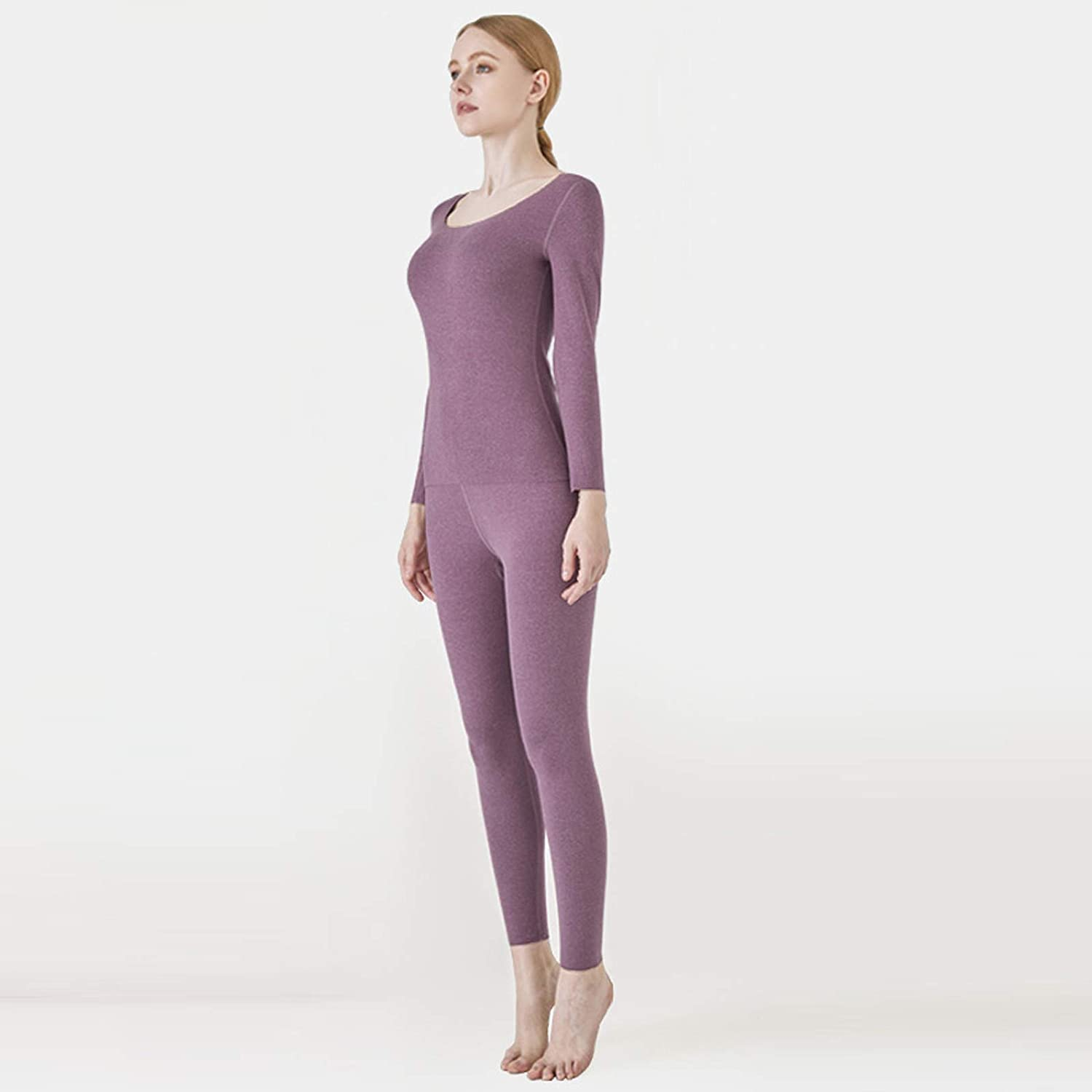 Women's Solid Color Long Sleeve Cationic Heating Plush Thermal Underwear Set Dress,Silk/Pajamas Suit,Tracksuit