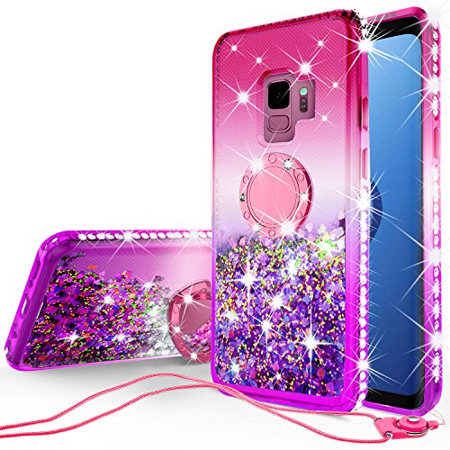 Galaxy S9 Case,Liquid Glitter Ring Kickstand Floating Quicksand Bling Sparkle Cute Protective Shock Proof Phone Case Girls Women Compatible for Samsung Galaxy S9 Cases, Hot Pink/Purple