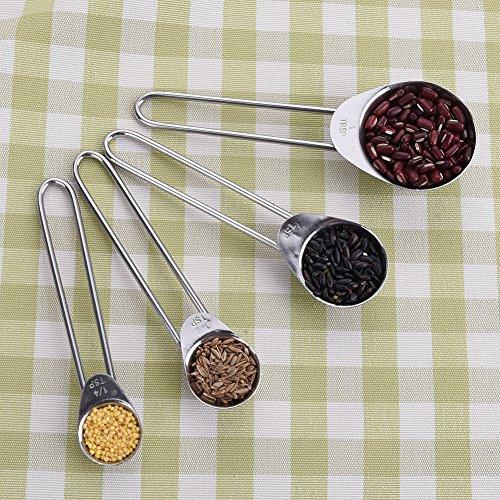 Hjuns™ cuillères de mesure inox ronde lot de 4 pcs café lait en poudre cuillère de pesée cuisine outil de cuisson