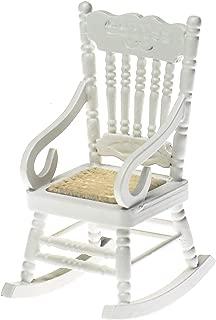WSSROGY Dollhouse Wooden Chair, 1:12 Dollhouse Miniature Wooden Rocking Chair (White)
