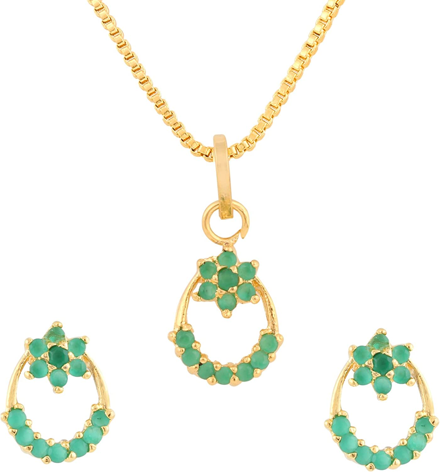 Efulgenz Fashion Jewelry Set Gold Plated Cubic Zirconia Pendant Necklace Set with Earrings for Women and Girls Brides and Bridesmaid