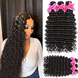 Deep Wave Wet and Wavy Curly Weave Human Hair Bundles 10A Unprocessed Brazilian Human Virgin Hair Weave Bundles Can be Dyed and Bleached Human Hair Extensions (10 12 14 inch, nature color)