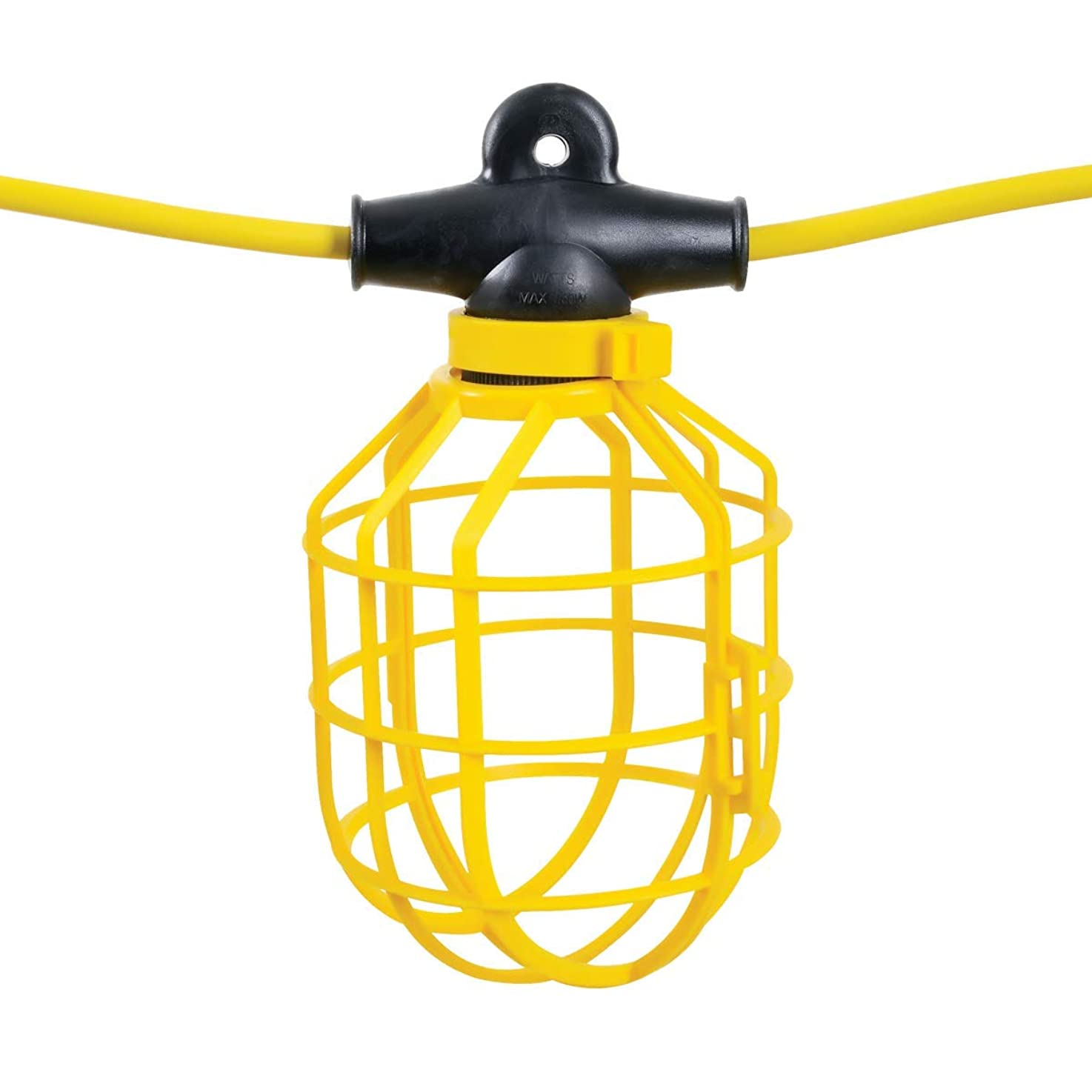 ReelWorks Heavy Duty Indoor/Outdoor Extension Cord String Work Light Bulb Guards 100 Feet (14AWG)