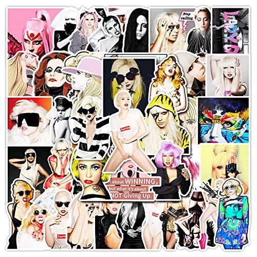 WYZNB Lot de 51 autocollants Lady Gaga en forme d'étoile pour ordinateur portable, téléphone portable, skateboard, bagages, marée - Étanches