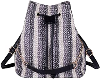 Wultia - Backpack Female Backpacks Women Bags Women's Fashion Woven Bucket Bag Versatile Shoulder Bag Bucket Type Backpack 9.02#M08 Gray