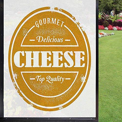 Película para ventana de queso, decoración del hogar, cocina, oficina, color amarillo oscuro, blanco 60 x 90 cm