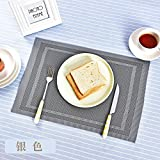 European-style western restaurant household PVC placemats, washable and heat-insulating Table Mat Set of 2 Dining-Back shape silver black