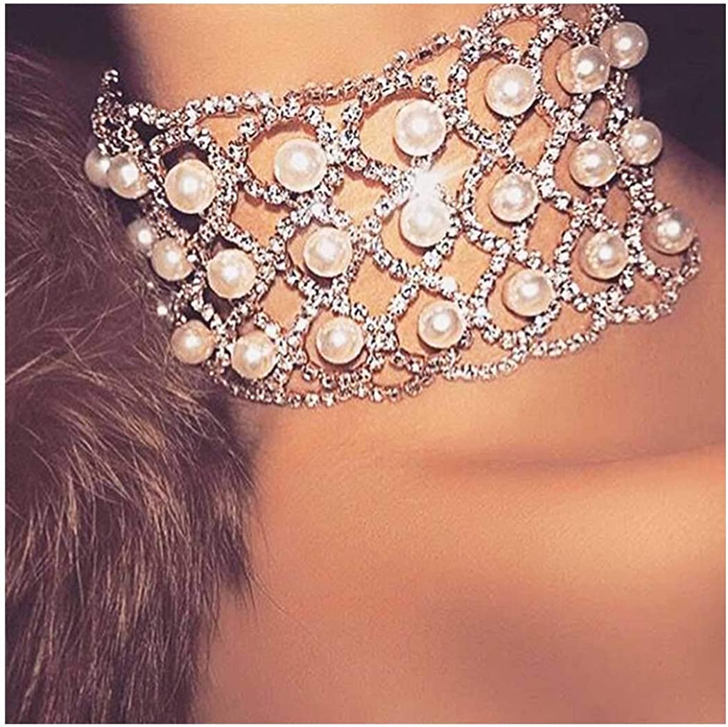 Yokawe Rhinestone Necklace Gold Crystal Choker Necklaces Pearl Choker Neck Chain Nightclub Party Rave Neck Jewelry Accessories for Women and Girls
