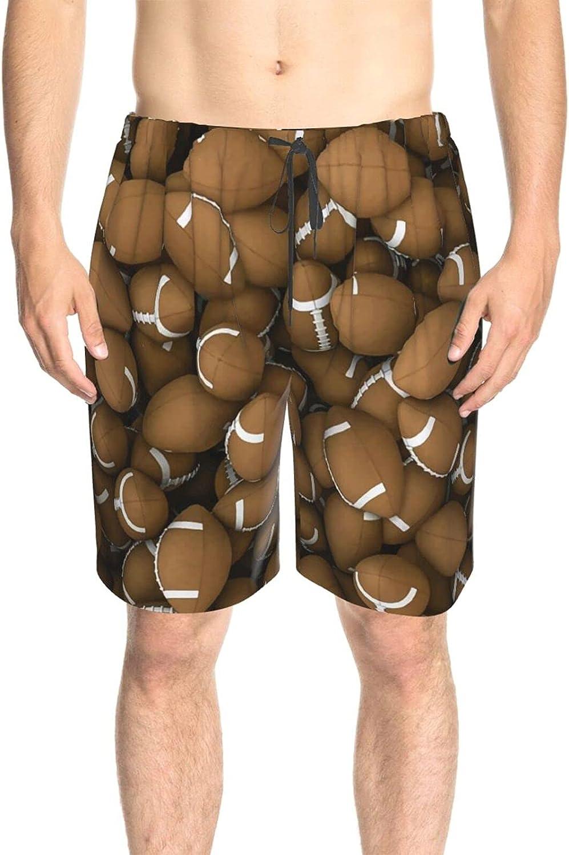 JINJUELS Mens Bathing Suits American Footballs Swim Board Shorts Drawstring 3D Printed Surfing Board Shorts with Liner