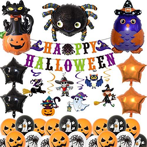 BESLIME Decoración de Fiesta de Halloween Set, 34 Piezas Globos de Látex con para la Decoración de Fiestas de Halloween, Globos de Colores, serpentinas en Espiral