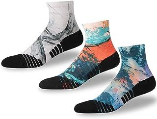 NIcool Men's Running Printing Anti-Blister Moisture Wicking Sports Athletic Ankle Socks