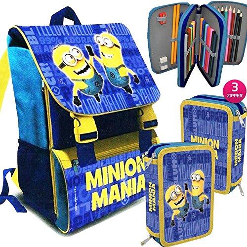 Kit Scuola School Promo Pack Zaino Estensibile + Astuccio 3 Zip Accessoriato MINIONS Mania Edizione 2016-2017