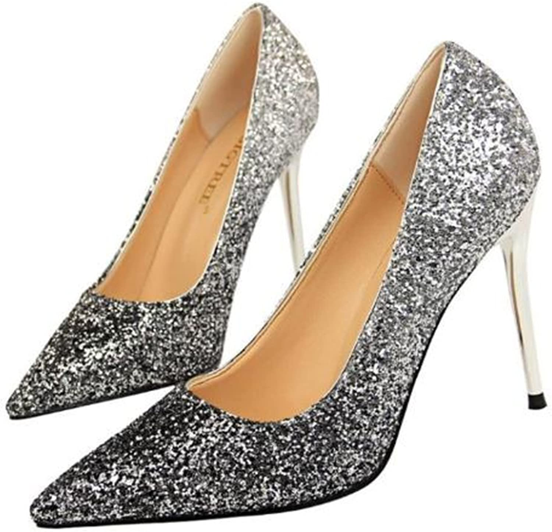 Cloudless Women Pumps Pointed Toe Sequins Gradient High Heel 9.5 cm Wedding shoes
