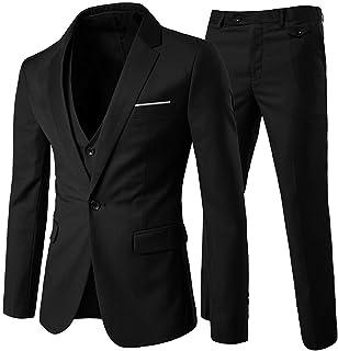 Allthemen Mens Suits 3 Piece Slim Fit Wedding Suit One Button Formal Blazer Jackets Waistcoat Trousers