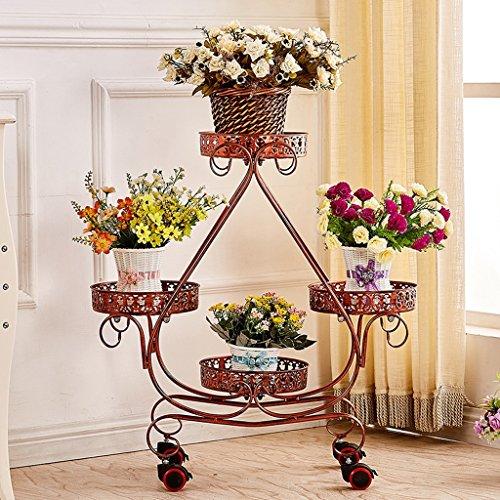 Tie - Style Wheel Flower Stand Floor - Style Cadre de lit en fleurs Salon Balcon étagère (Couleur : Cuivre rouge)