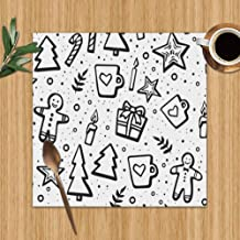 """Hand Drawn Christmas New Year Holidays Washable Placemats for Dining Table Double Fabric Printing Polyester Place Mats for Kitchen Table Set of 6 Table Mat 12""""X12"""""""