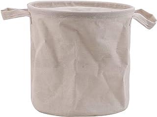 Générique Yiwaki Panier à Linge Pliable, pour la Salle de Bain des Chambres à Coucher,Bouche de Faisceau Blanc Naturel,Petit