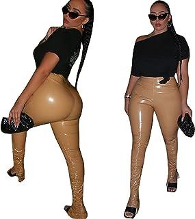 AILINSHA Damengamaschen dehnbar sexy Leder nass Look Hohe taillierte Strumpfhose Seitenschlitz gefaltete Hose Bleistifthose Hintern Push Up Legging