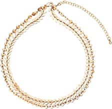 Boosic Multilayer Sequins and Chevron Chain Choker Necklace for Women, Silver & Golden