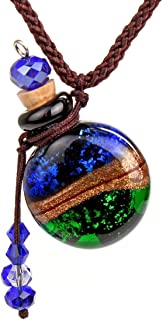 CCSC-PEC Glass Gold Dust Small Essential Oil Diffuser Ashes urn Bottle Cork Pendant Vial Necklace