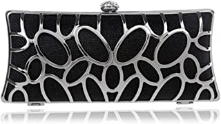 Runhuayou Ladies Metal Openwork Dinner Clutches European & American Banquet Eventide Dresses Clutch Bags Black/Red/Amber/Silver Great for Casual or Many Other Occasions Such (Color : Black)