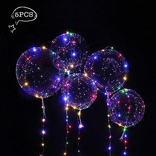 Parsion Globo LED Transparente con Luces Globos de Látex 18 Pulgadas con LED Muticolores, Innovadores Globos Románticos de Decoración para Fiesta, Cumpleaños, Boda, Navidad, Carnaval