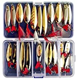 Victoronlineshop Fishing Lures Metal Spoons Hard Baits 22pcs Set Metal Fishing Lures Spinner Baits Fish Treble Hooks Tackle Salmon Bass