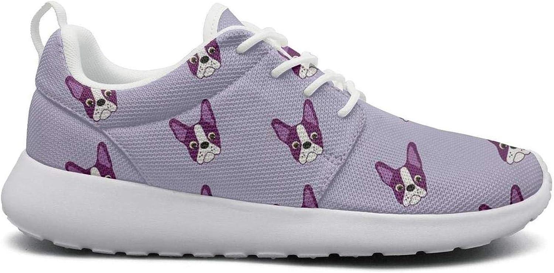 Ipdterty Wear-Resistant Sports Sneaker Purple Boston Terrier Puppy Women Cool Running shoes